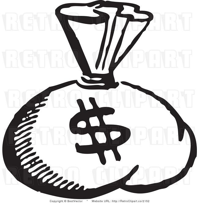 Money Bag Clipart Black And White.