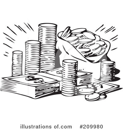 Money Black And White Clipart.