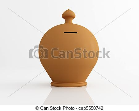 Clip Art of clay money box.