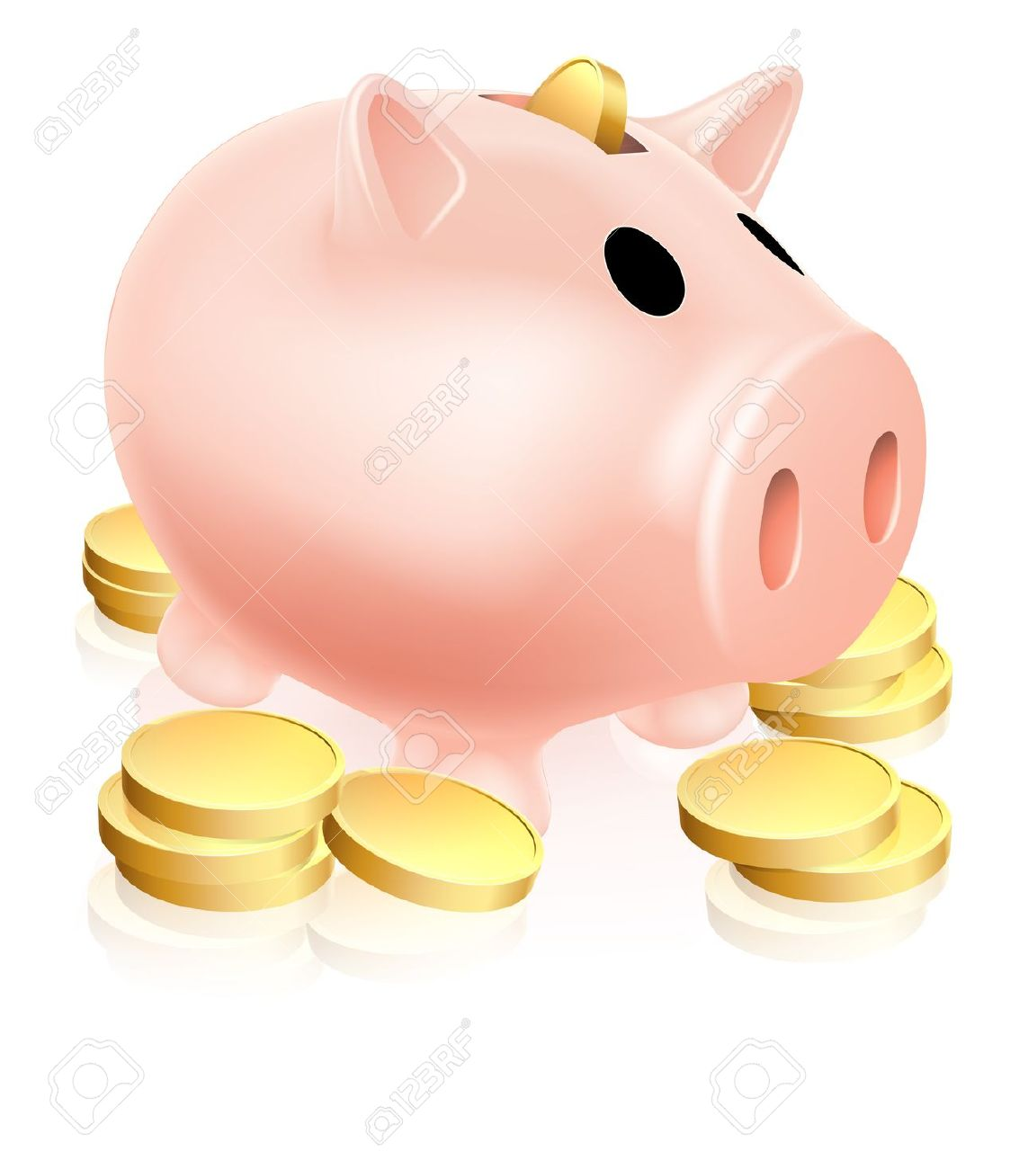 Illustration Of A Piggy Bank Money Box With Gold Coins Around.