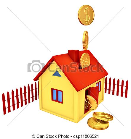 Clip Art of dollar coins falling down to the money box.