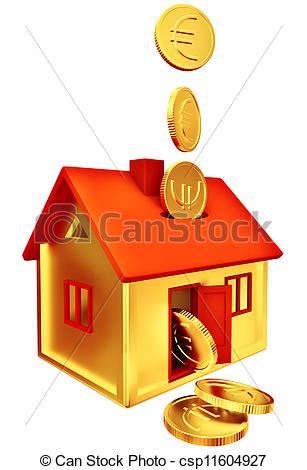Clip Art of euro coins falling down to the money box.