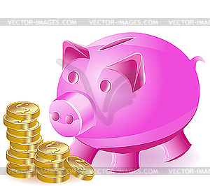 box pig and gold coins.