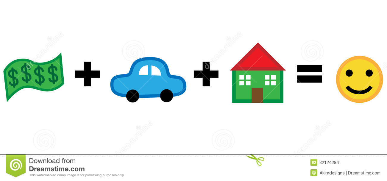 Money Car House Equals Happiness Stock Images.