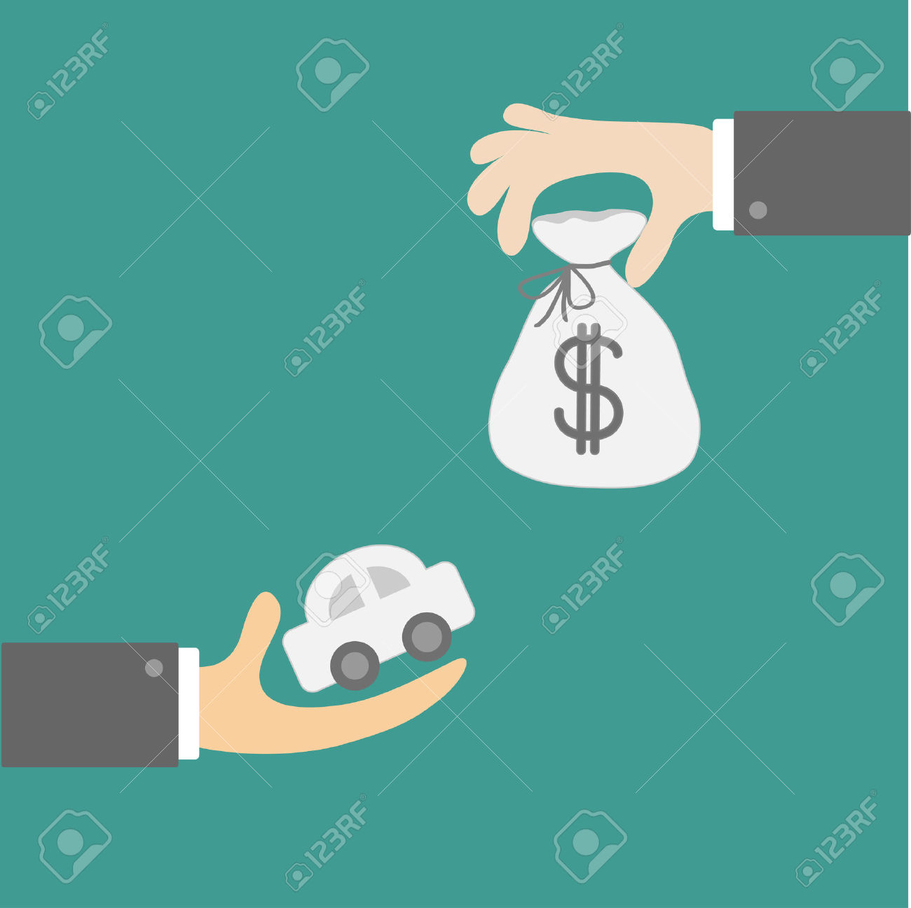Hands With Car And Money Bag. Exchanging Concept. Flat Design.