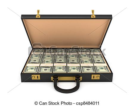 Clipart of 3d open case with money. computer generated image.