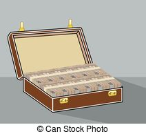 Clipart Vector of Suitcase with money. Case with cash. Stack of.