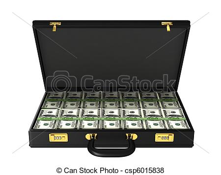 Stock Illustration of Case with bundles of 100$ banknotes isolated.