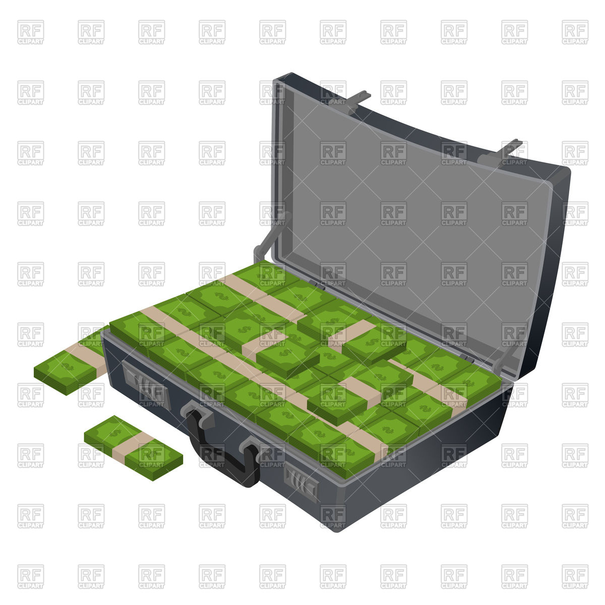 Suitcase with money. Case with cash. Vector Image #133644.