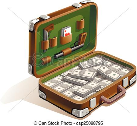 EPS Vectors of suitcase with money.