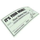 Clipart of Man Holding Big Settlement Check Agreement Money.