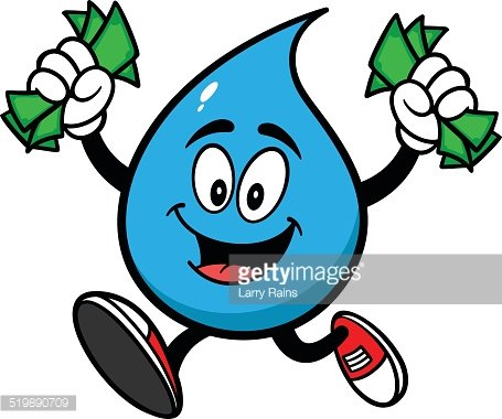Water Drop with Money Clipart Image.