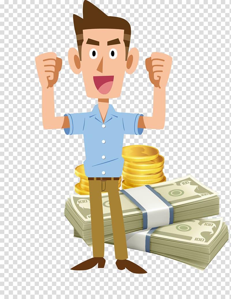 Man standing beside file of banknotes illustration, Money.
