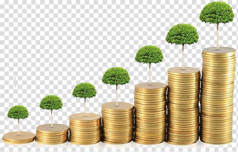 Green leaf trees illustration, Savings account Money.