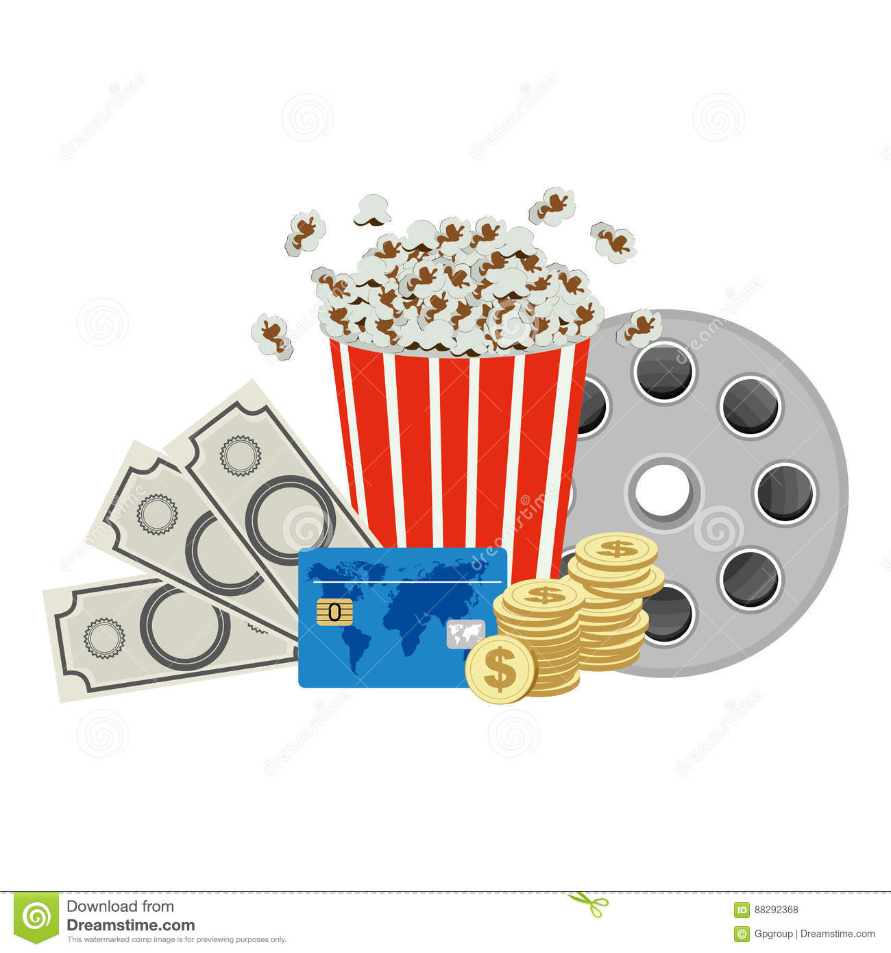 Color Pop Corn, Clipart Movie And Money Icon Stock Illustration.