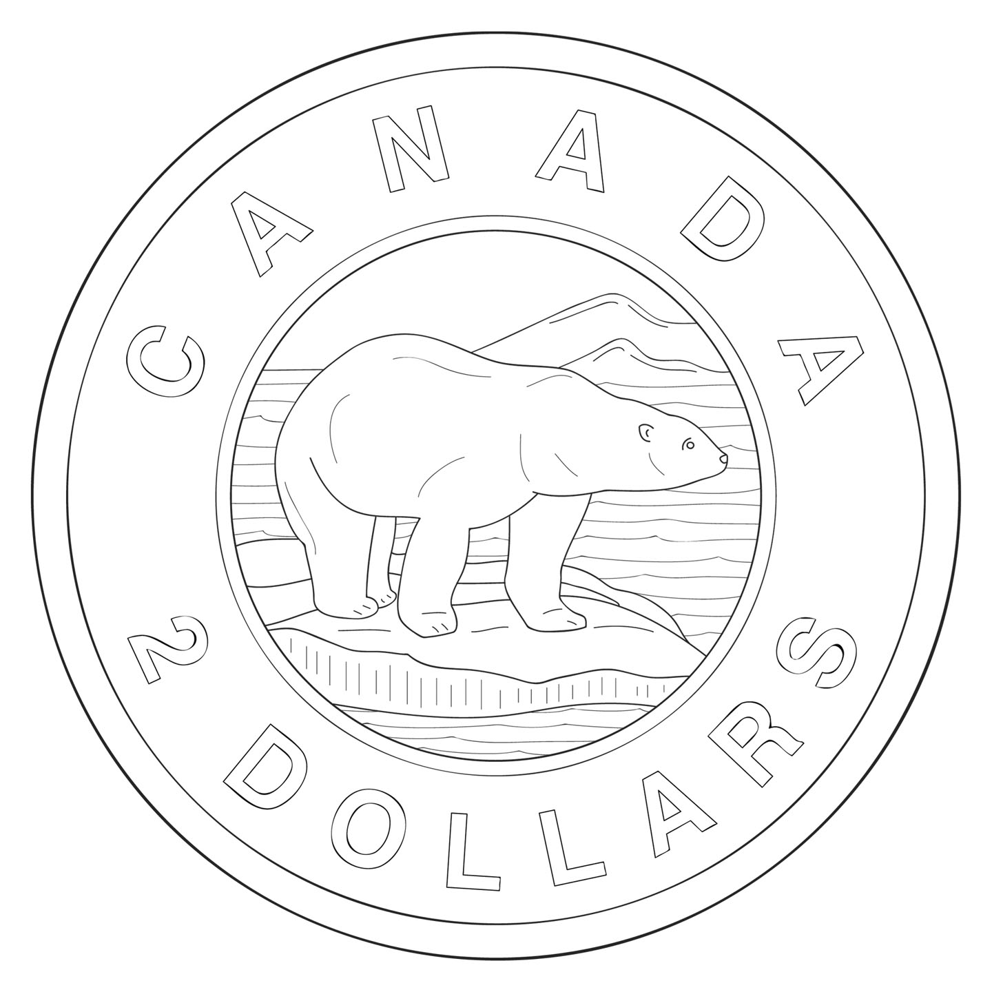 Clip Art: Canadian Money: Quarter Color.