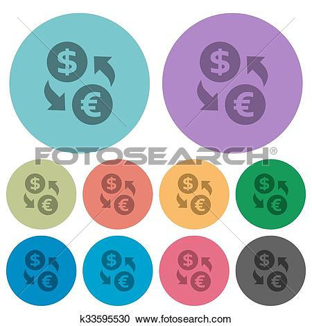 Clipart of Color money exchange flat icons k33595530.