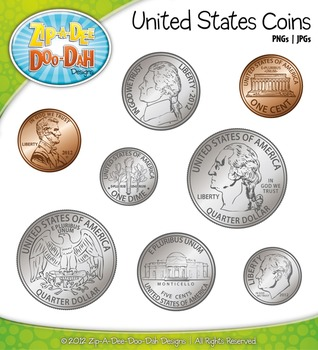 United States Coins Currency Clip Art — Comes In Color and Black.