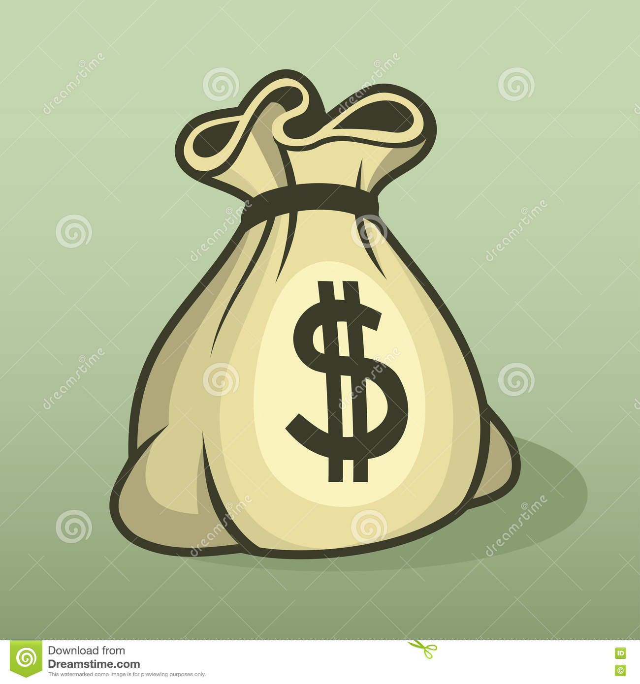 Money Icon With Bag, Color Vector. Stock Photo.