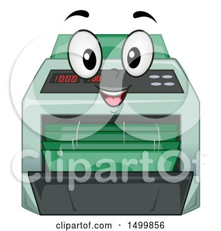 Clipart of a Money Counter Machine Mascot.