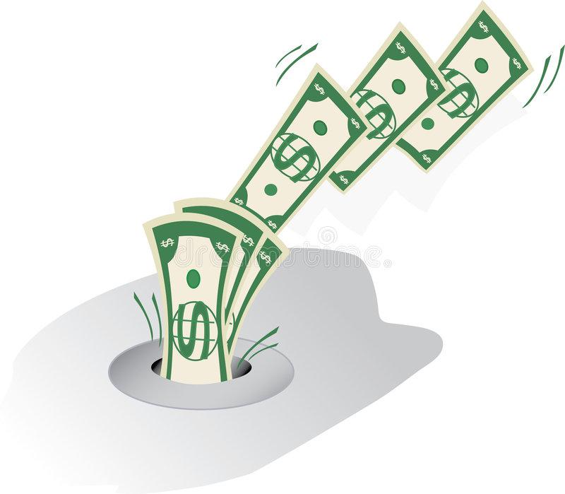 Money Down Drain Stock Illustrations.