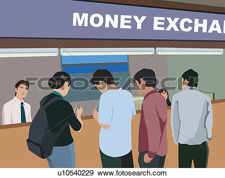 Stock Illustration of Rear view of people at money exchange.