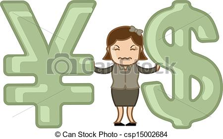 Clipart Vector of Loss in Currency Exchange Business.