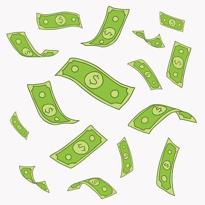 Vector Pattern of Flying Paper Money premium clipart.