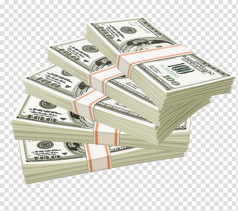 Five bundle of 100 US dollar banknotes illustration, Money.