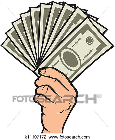 Money in the hand Clipart.