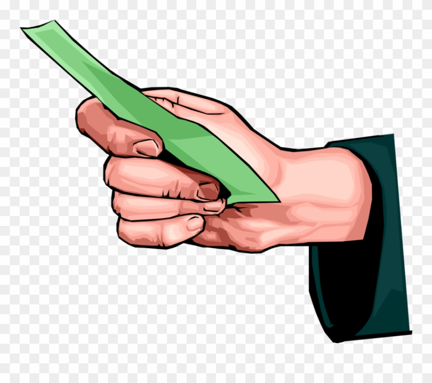 Vector Illustration Of Hand Holding Cash Currency Money.