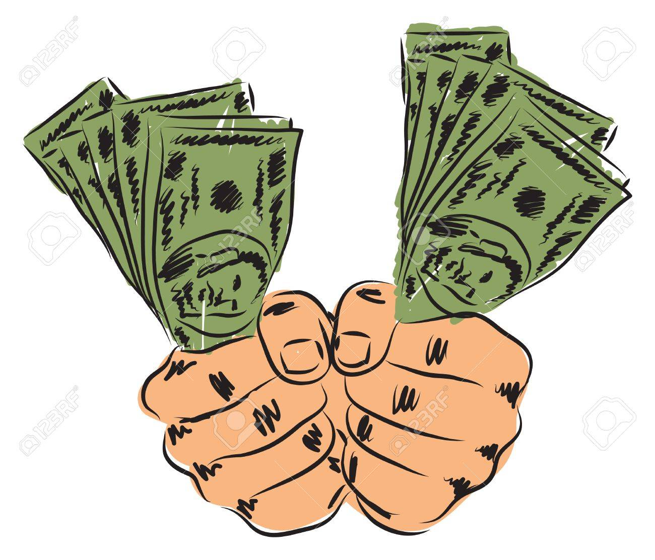 Hands And Money Illustration Royalty Free Cliparts, Vectors.