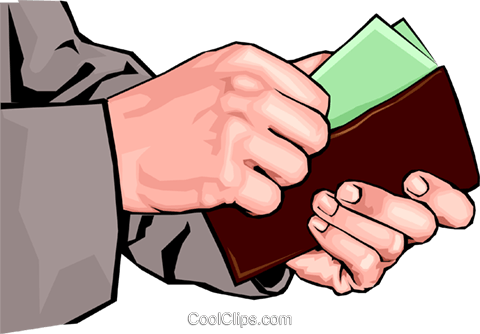 hands putting money in wallet Royalty Free Vector Clip Art.