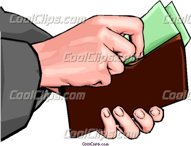 Hand placing money in wallet Vector Clip art.