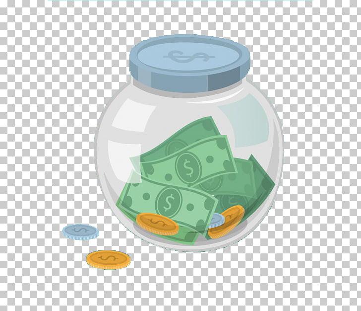 Money Jar Saving , Glass piggy bank, US dollar banknotes and.