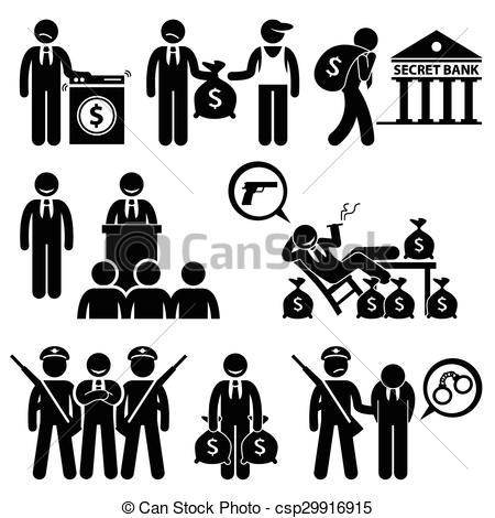 Vector Clip Art of Dirty Money Laundering Politic.