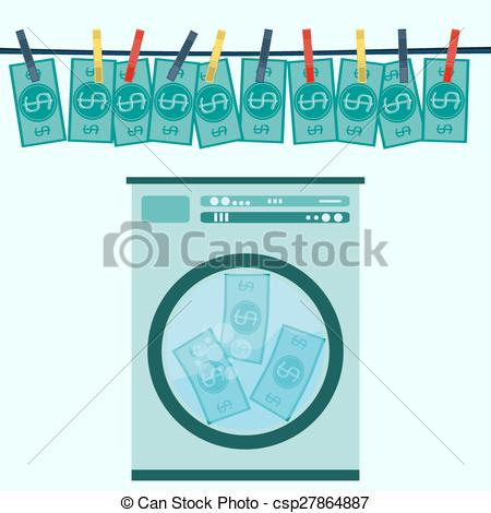 Vector of Money laundering in washing machine vector illustration.
