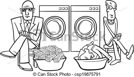 EPS Vectors of money laundering cartoon illustration.