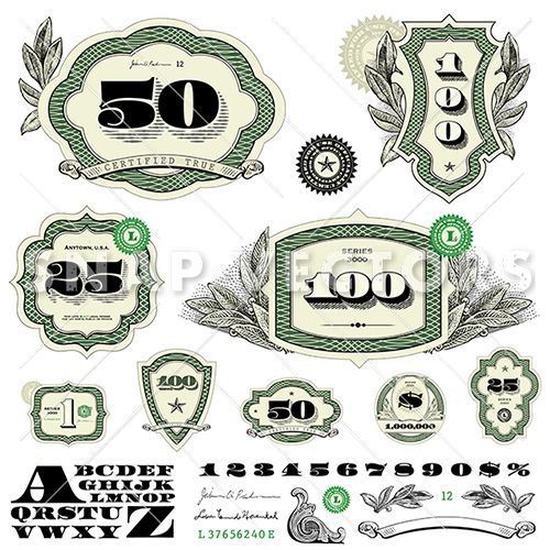 Money Logo Vector Frame Set.
