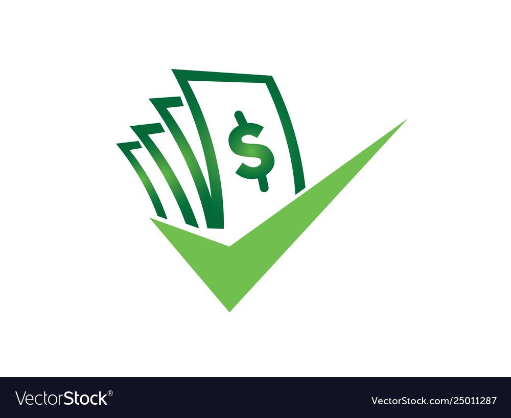 Money with check mark for logo design good deal.