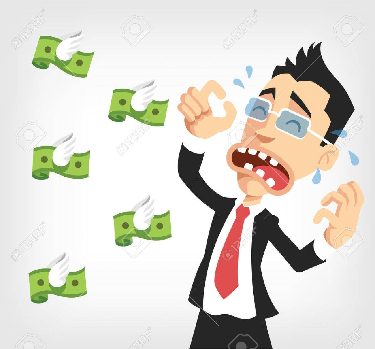 Businessman lose money. Vector flat illustration.