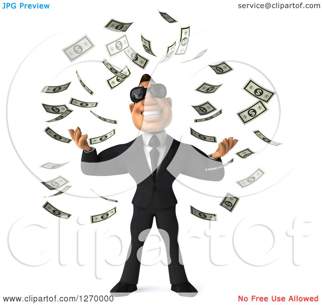 Clipart of a 3d White Businessman Wearing Sunglasses and Making It.