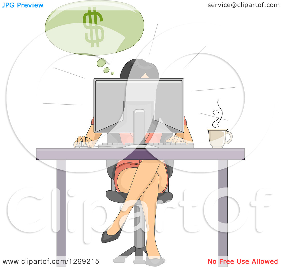 Clipart of a Woman Making Money Online While Working at a Desk.