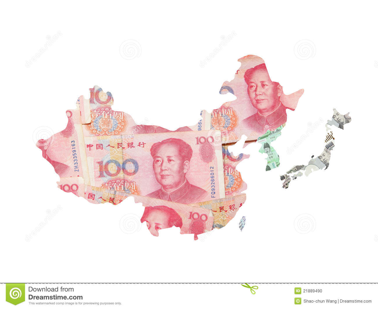 Asia Money Map By Asian Currency For Finance Stock Photo.