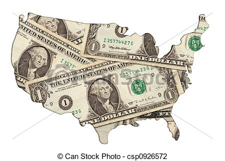 Clip Art of USA map with money.