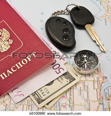 Stock Photography of Passport with money, map,Car key k6100990.