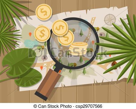 Clip Art Vector of find treasure hunt money map coin vector.