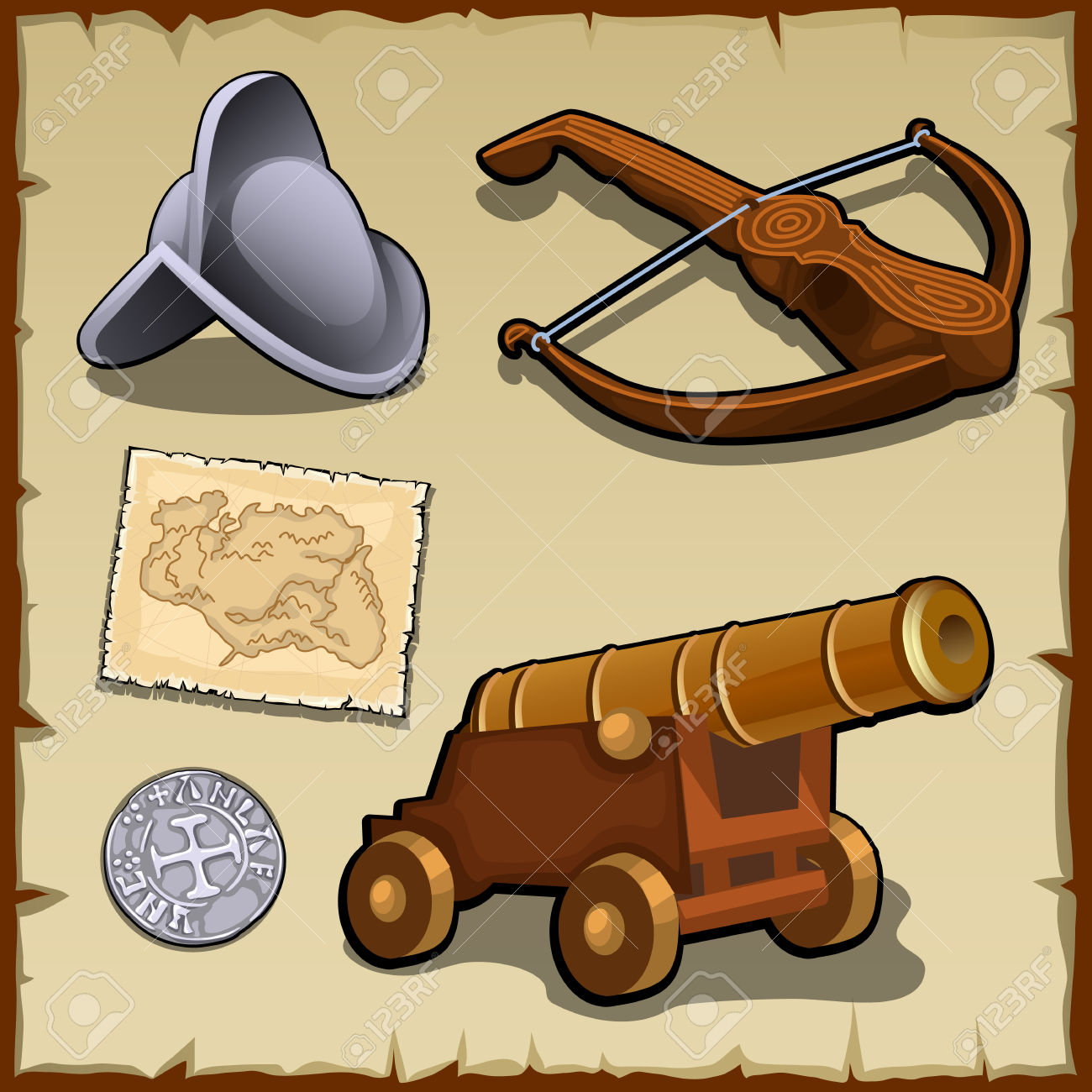 Vintage Set Of Weapons And Strategic Items, Money, Map Royalty.