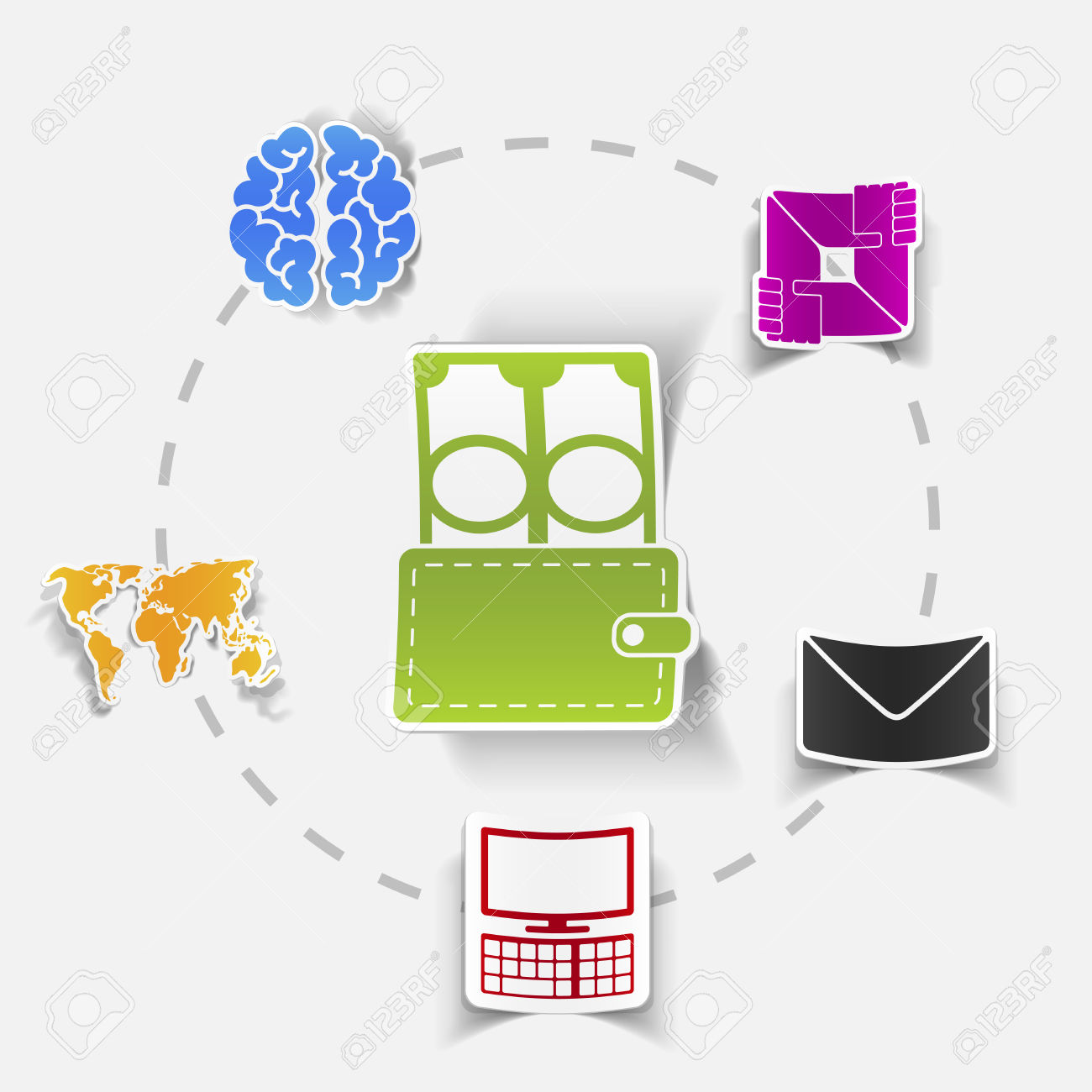 Social Concept: Envelope, Computer, Brain, Wallet, Money, Map.