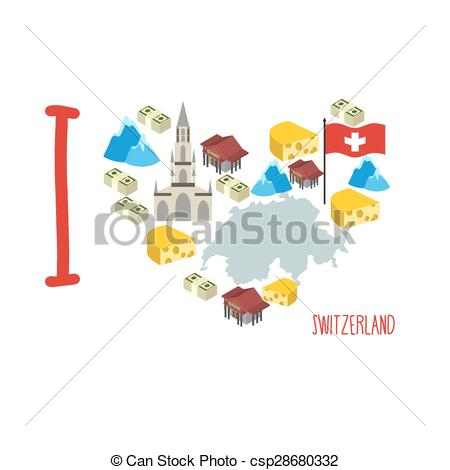 Vectors of I love Switzerland. Symbol heart of cheese and Alps.